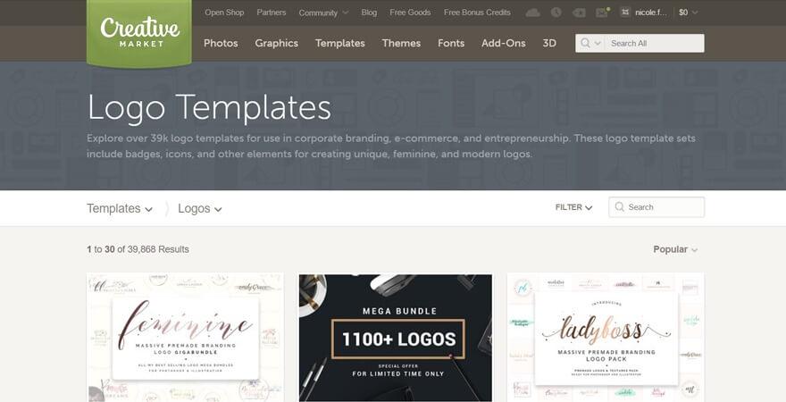 سایت طراحی لوگو creative market