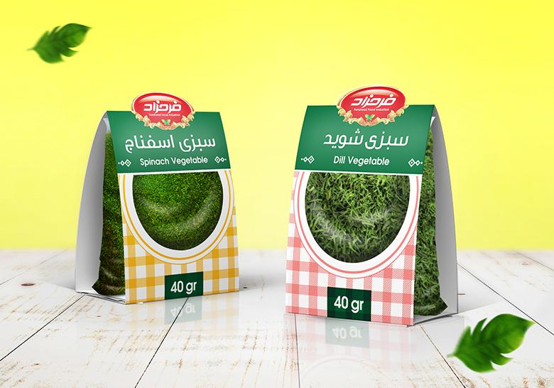 طراحی بسته بندی سبزی خشک فرحزاد