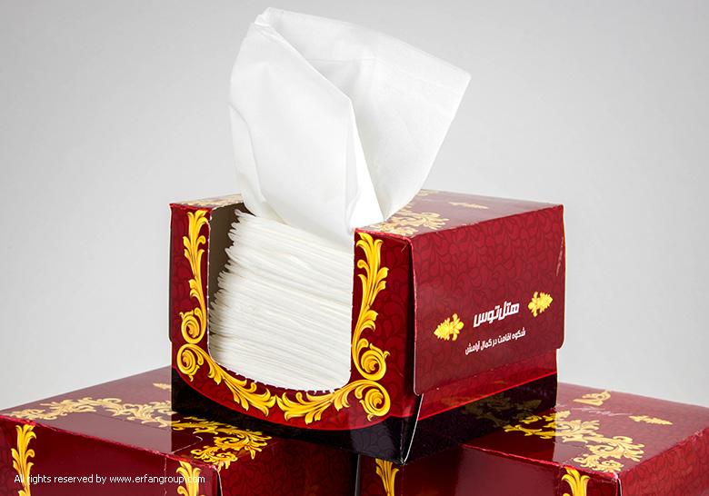طراحی جعبه دستمال کاغذی هتل توس