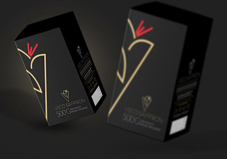 طراحی بسته بندی زعفران ویسکو