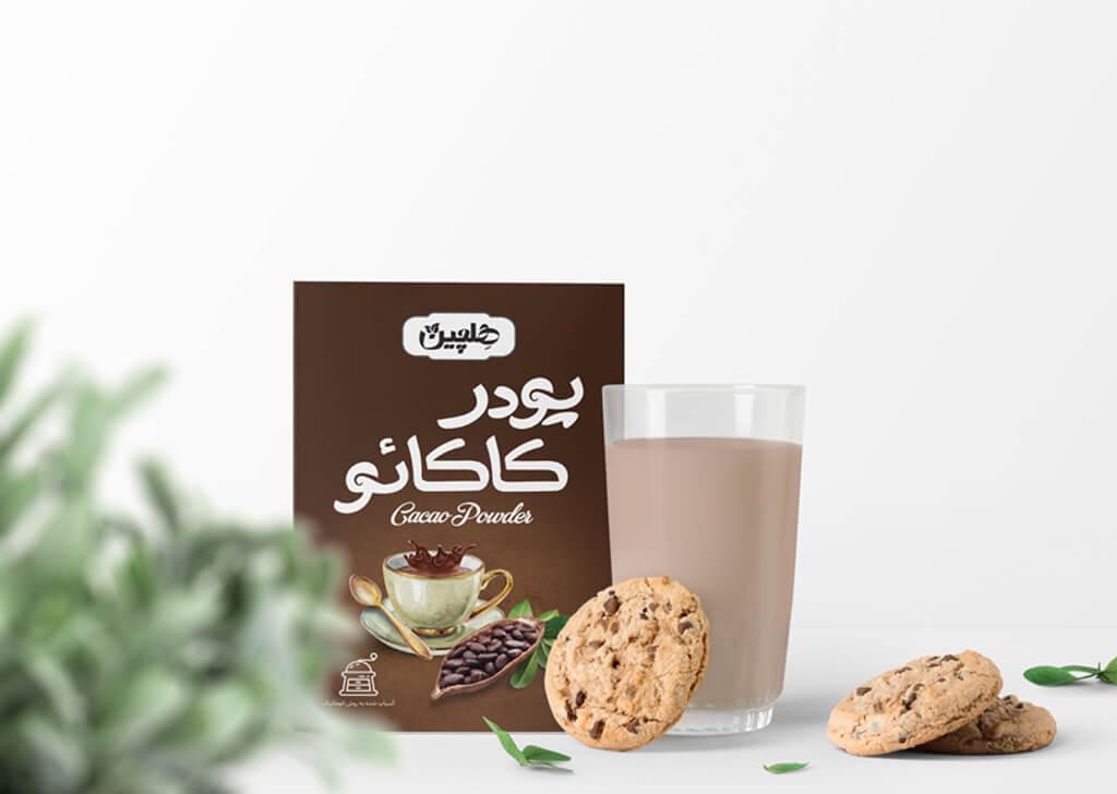 طراحی بسته بندی پودر کاکائو