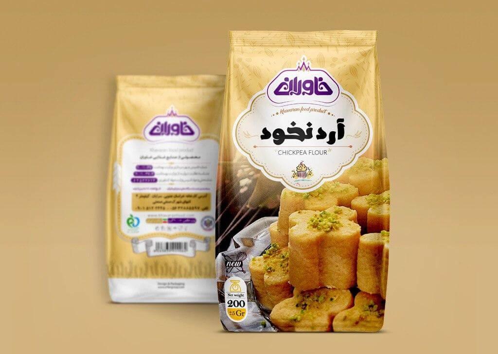 طراحی بسته بندی آرد نخود خاوران