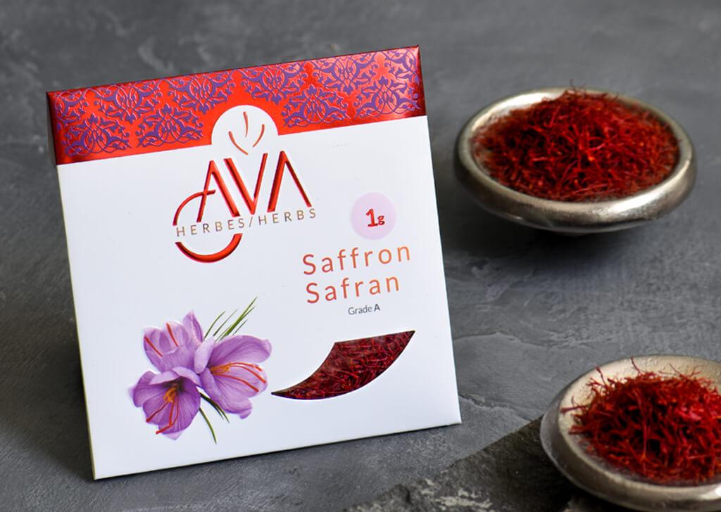 طراحی بسته بندی زعفران آواا