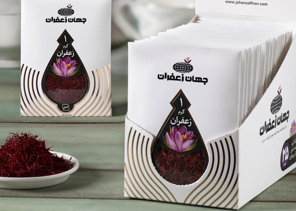 طراحی بسته بندی زعفران پاکتی