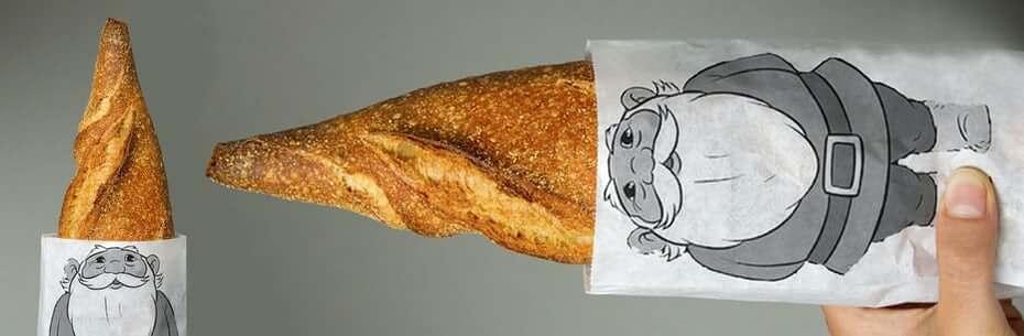 تصویرسازی روی کاغذ بسته بندی نان