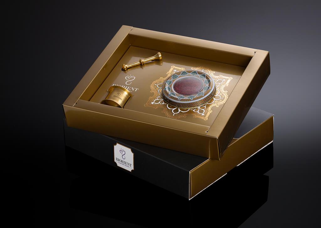 طراحی بسته بندی زعفران کادویی بیورینت